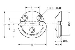 Heavy Duty Folding Pad Eye 316 Stainless Steel