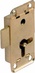 Lever rim lock, for lever bit keys, 12.5 mm backset
