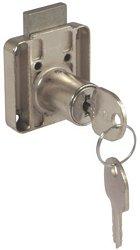Rim lock, 18 mm cylinder, 26 mm backset, for drawers, random key changes
