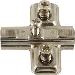 Keyhole Mini hinge mounting plates, with pre-mounted Euro screws