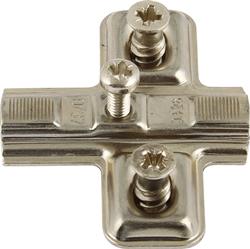 Keyhole Mini hinge mounting plates, with pre-mounted Euro screws