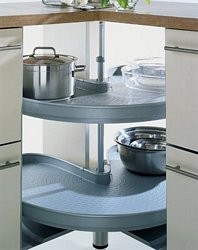 Mondo 90º carousel complete corner unit, grey non slip trays with chrome edging