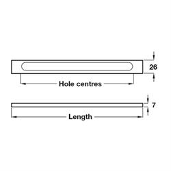 Pull handle, 128-320 mm hole centres, various lengths