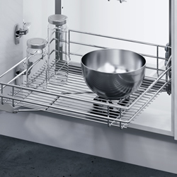 Larder Unit With Classic Chrome Linear Wire Storage Baskets