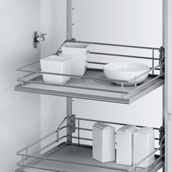 VSA swing out larder unit complete set, centre mounting, height adjustable (1200-2140 mm), full exte