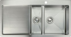 Stainless steel top mount 1 1/2 bowl and drainer