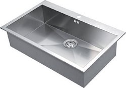 Stainless steel top mount single bowl, 820 x 510 mm