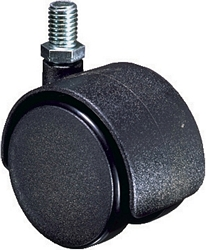 Twin wheel castors, M10 thread fixing without brake