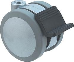 Twin wheel castor,  75 mm