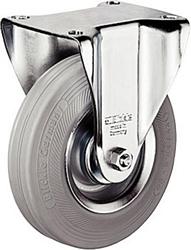 Fixed castor, 80mm diameter wheel, plate fixing