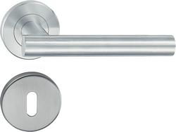 HL02 Lever handle set, stainless steel, Standard keyway escutcheon