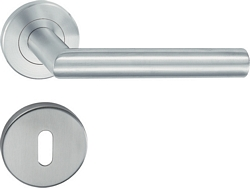 HL01 Lever handle set, stainless steel, Standard keyway escutcheon