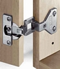 Aximat 100 250º corner hinge with exposed axle, screw fixing, w pre-mounted euro screws