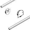 Complete fitting sets for Hafele light duty sliding timber cabinet doors, top hung