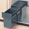 Tandem waste bin, floor mounted