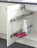 Pull-out two tier storage unit, linear version, hinged door fixing, for 300 mm cabinet width