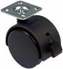 Twin wheel castor, plate fixing, 40-50 mm