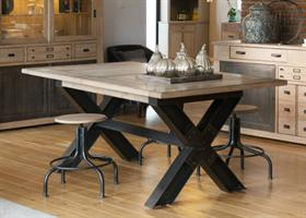 Industrial Metal X Leg Dining Table