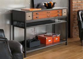 Industrial 3 Drawer Console