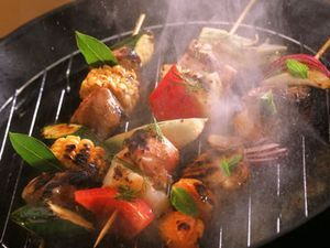 Pork Kebabs with Peppers & Onions
