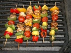 Chicken Kebabs with Peppers and Onions