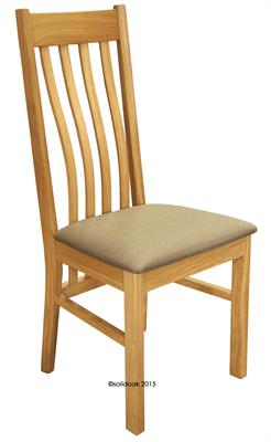 Wigan Solid Oak Dining Chair Fabric Seat