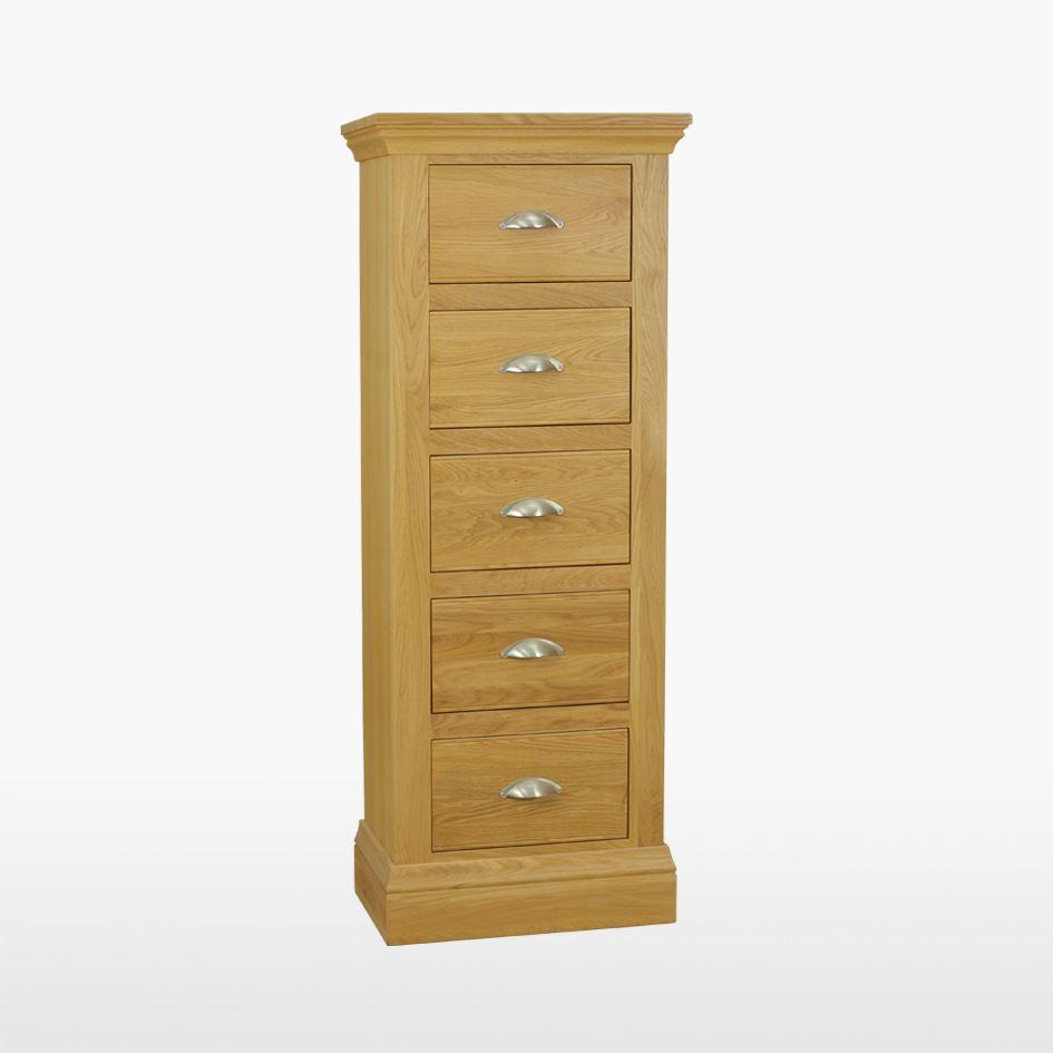 Reims - Oak Narrow Chest - 5 drawers - REM804