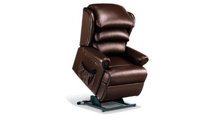 WINDSOR Lift & Rise Recliner Chair (Chocolate Leather) by Sherborne