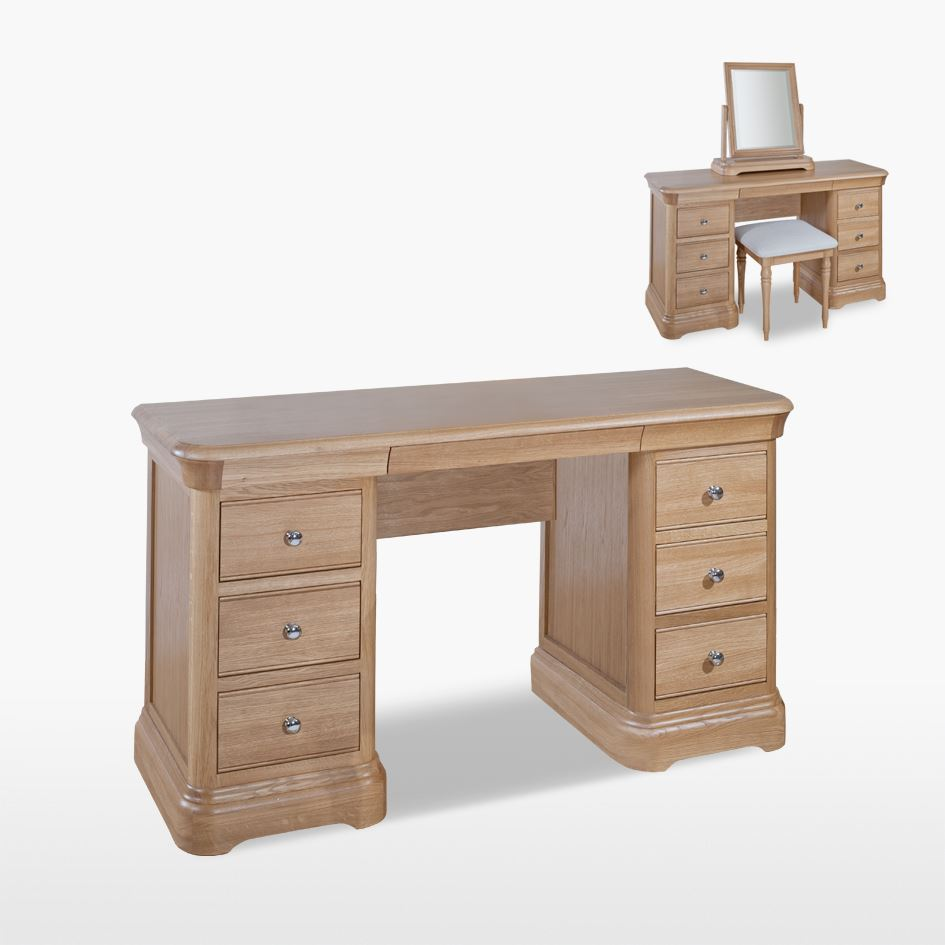 LAMONT - Oak Double Pedestal Dressing Table - LAM815