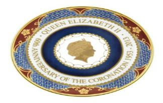 Royal Worcester - Round Tray - Coronation 60th Anniversary