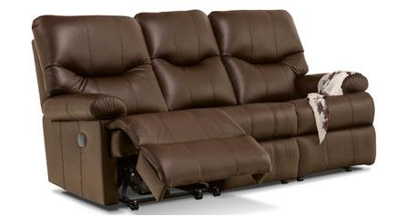 NORVIK Leather Reclining 3 Seater Settee by Sherborne
