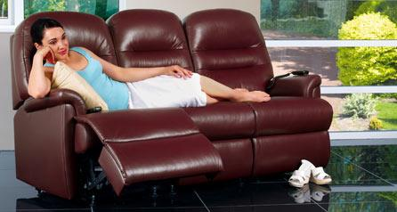 KESWICK - 3 Seater Reclining Leather Settee by Sherborne