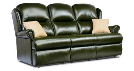 Malvern - Leather 3 Seater Settee - Fixed