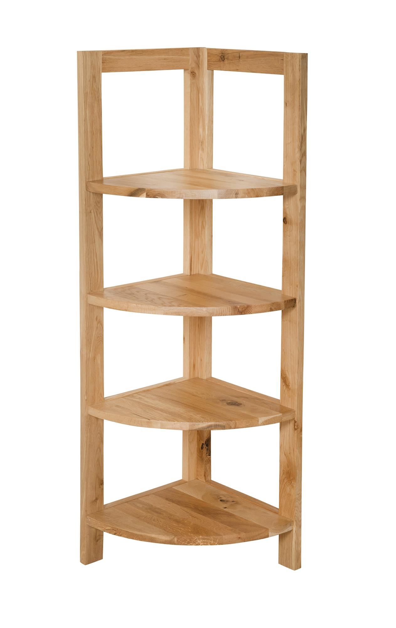 OAK - 4 SHELF CORNER STAND