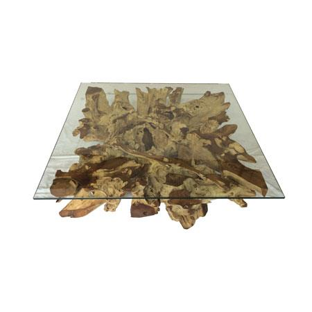 ROOT - Spider Stone Glass Coffee Table - Square