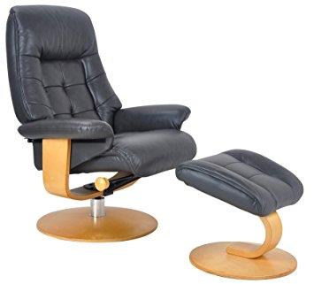 LYON - Charcoal Leather Swivel Chair and stool