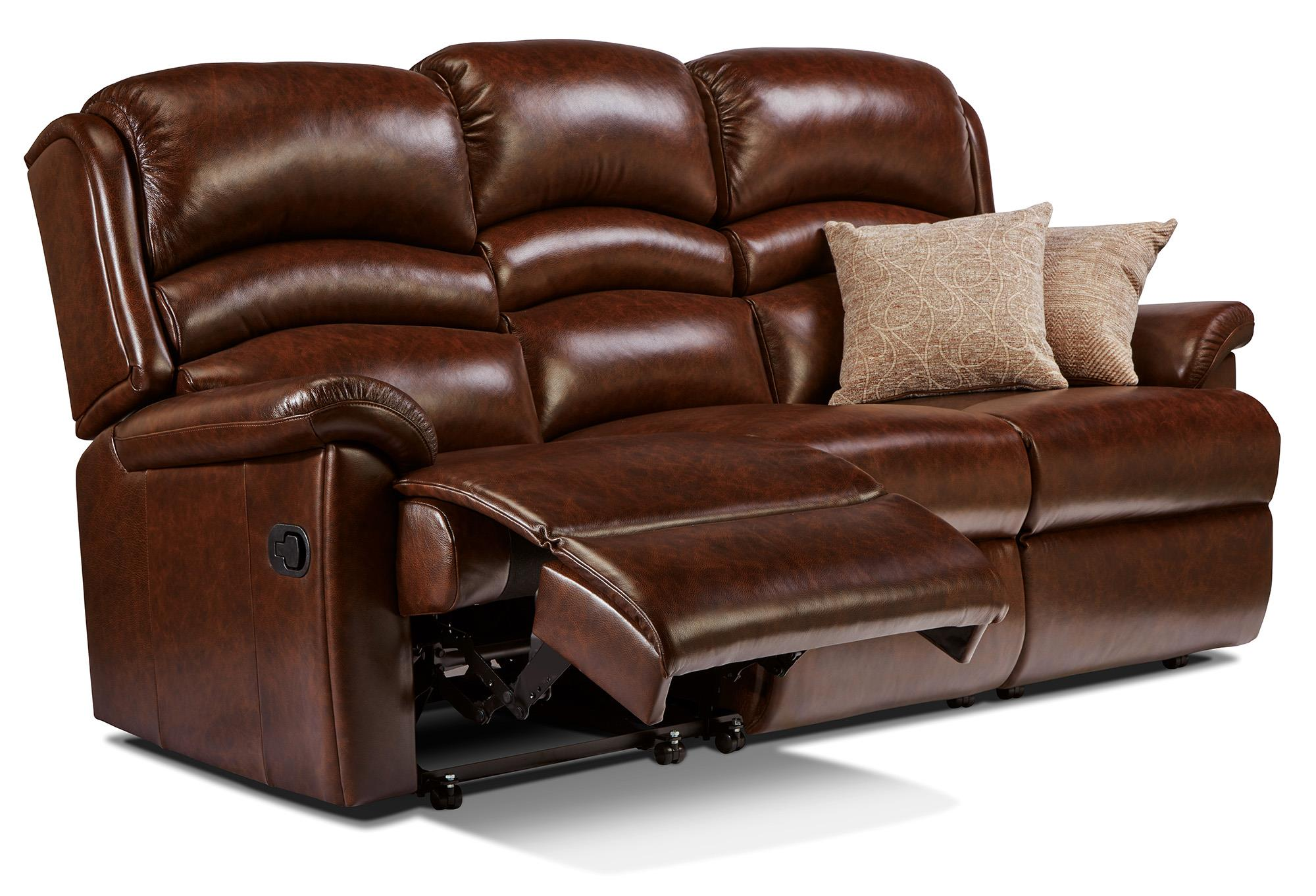 OLIVIA - Leather Reclining 3 Seat Settee