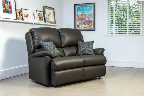 CLAREMOUNT - Leather 2 Seater Reclining Settee - by Sherborne