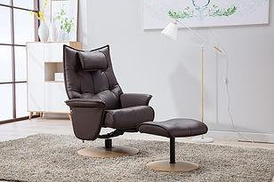 HANA - Italian Leather Swivel Chair and stool