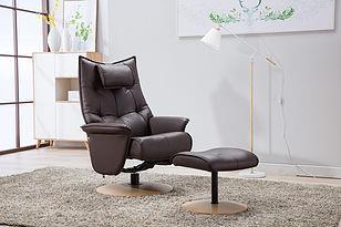 HANA - Italian Leather Swivel Chair and stool
