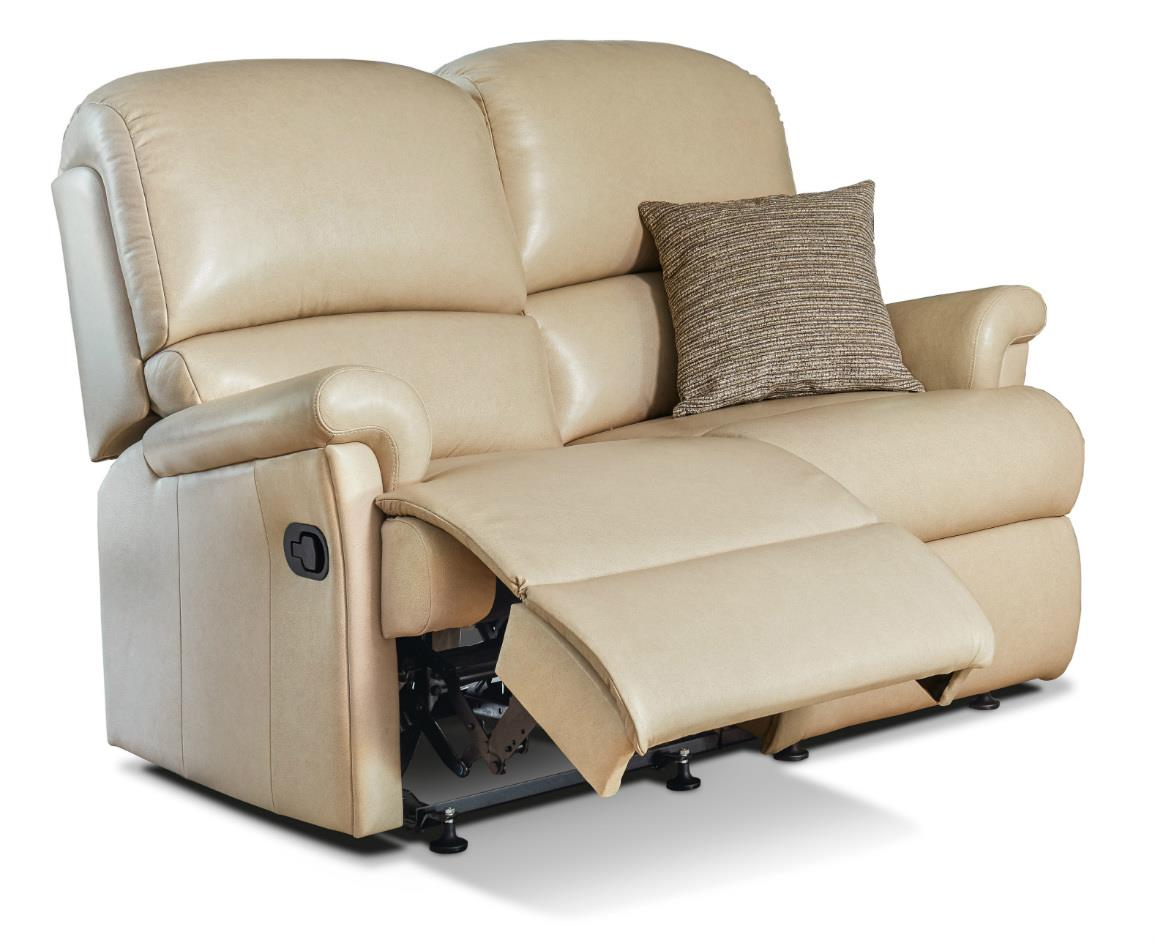 Nevada Leather 2 Str Reclining Settee - by Sherborne