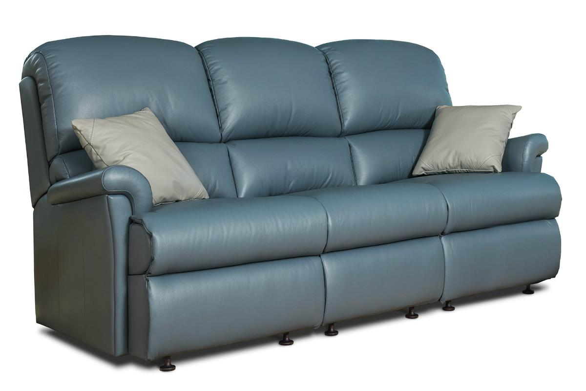 Nevada Leather 3 Str Settee - by Sherborne