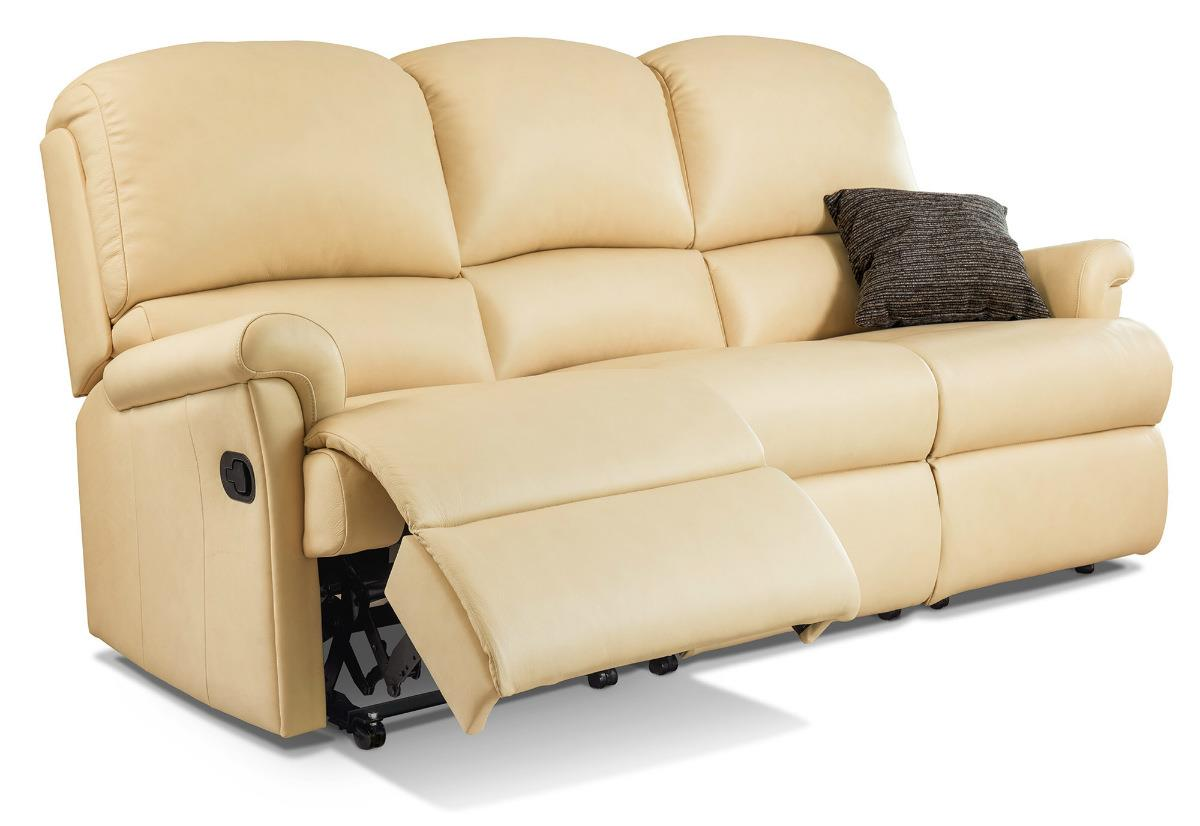 Nevada Leather 3 Str Reclining Settee - by Sherborne