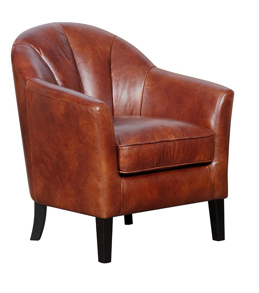 PARK ROW - Vintage Leather Accent Chair