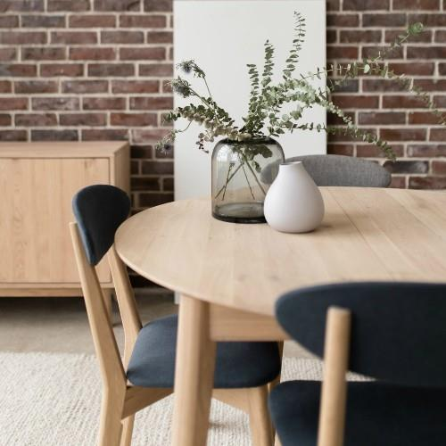 Narvik - Round Dining Table with butterfly extension + 4 Chairs