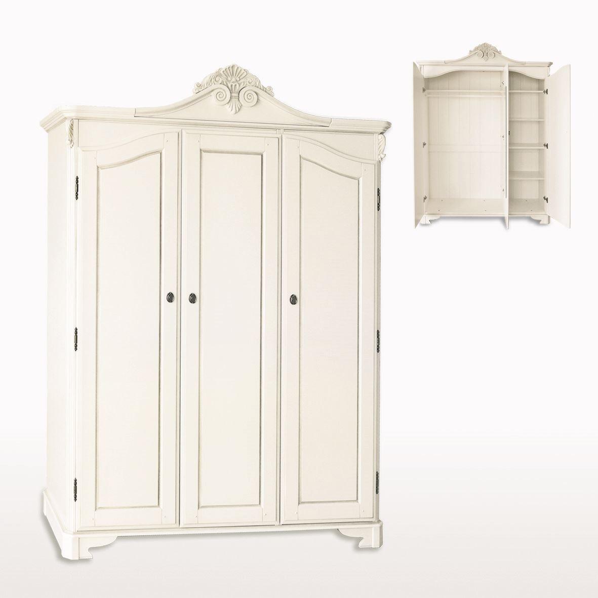 Amore' - Triple Door Wardrobe with Crested Top - ABJ303