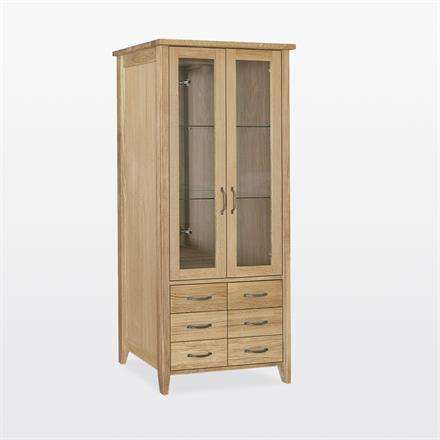 Windsor - Bookcase with 6 drawers, Mirrors, Lights and Glass Shelves - WIN35G