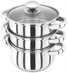 Horwood Steamer 3 Piece with Glass Lids 16cm