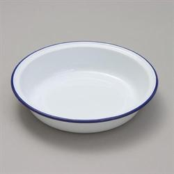 Falcon White Round Enamel Pie Dish with Blue Trim