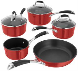 Stellar 3000 Red 5 Piece Saucepan Set